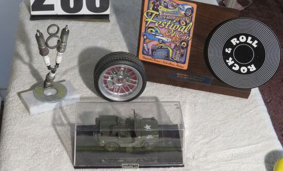 Car Part Art, car décor and military jeep in display case