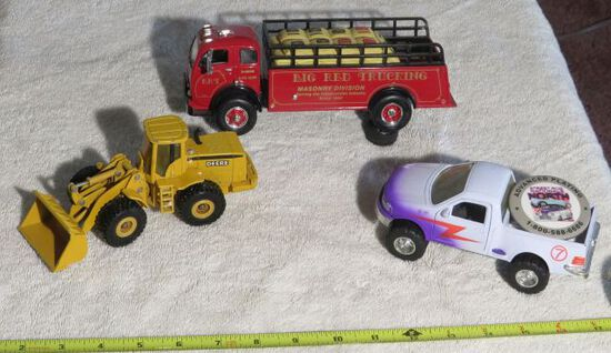toy back hoe, fire truck and car
