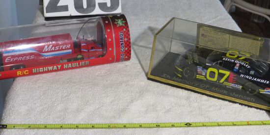 toy Highway Hauler and #7 race car in boxes