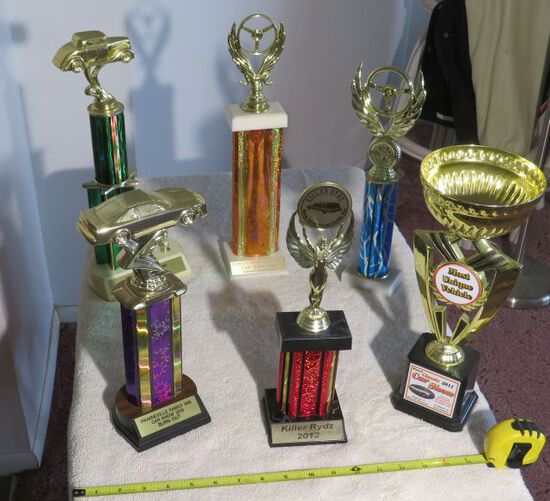 groupa of 6 car show trophies