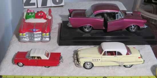 decorative cars, including M and M convertible collectible