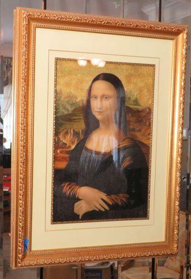 "framed embroidered silk portrait ""Mona Lisa"""