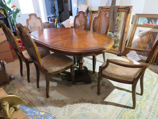 dining table with 6 matching chairs and extension leaf