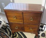 walnut finished 4 drawer lamp chest
