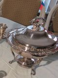 heavy silver plate lidded chafing dish