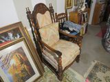 ornately carved walnut finished throne chairs