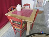 dinette table with 4 ladder back style chairs