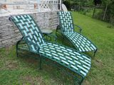 green vinyl web strapped patio lounge chairs
