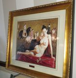 framed embroidered silk portrait of a nude Asian girl