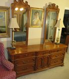 Thomasville oak triple dresser with twin mirrors