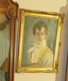 framed oil portrait of European young man dressed in formal attire