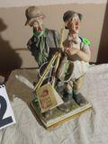 Italian ceramic bisque sculpture of two old men