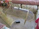 Brass finished glass top coffee table 34