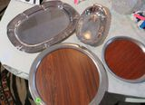 Silver finished serving trays (group of 4)