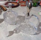 Crystal toothpick holder, decanter & candy dish