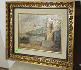 Framed oil on canvas, European seashore  15