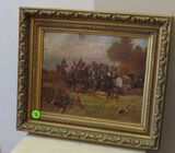 Framed oil on canvas, Indian battle scene 13
