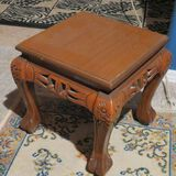 Walnut finished carved plant stand  12