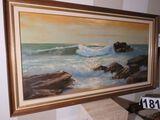 Framed oil on canvas - seashore scene 54