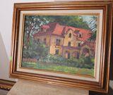 Framed oil on canvas 3 story house by Eleanor Blair  15