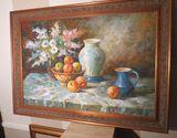 Framed oil on canvas - fruit bowl & floral scene  41