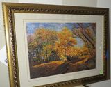 Framed hand made Chinese silk embroidery needle work art - Autumn Woods scene - 24