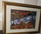 Framed hand made Chinese silk embroidery needle work art - Running Stream scene - 24