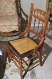Cane seated antique wooden chair
