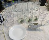 mixed glasses, plate and cow creamer