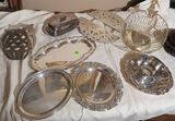 Crate of mixed silver plated serving pcs including butter dish, bread basket, hot plates & small tra