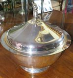 Silver plated lidded serving bowl with ruby glass insert bowl