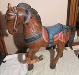 Wooden carved horse (bent leg has been broken and repaired)  19
