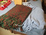 Two soft wool knitted throw blankets