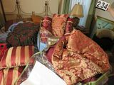 Simsbury Queen comforter with 2 square matching pillows & 2 roll matching pillows plus a Blue queen