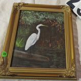 Framed oil on canvas - Egret - by Martha Crowell   11