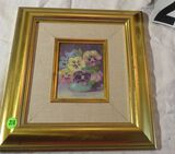 Framed oil on canvas - Potted Pansies - 11