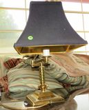 Brass table lamp with shade - 19