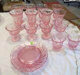 Pink parfait glasses, custard cups, creamer & sugar bowl plus 4 luncheon plates