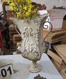 large rustic enameled tin urn