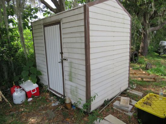 aluminum sided storage shed 8' d x 6' w x 7' h