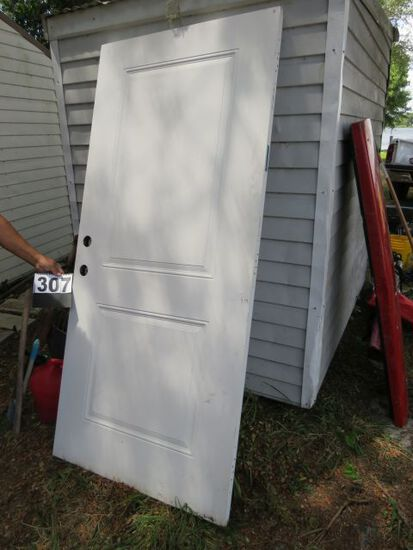 """3'0"""" exterior metal jacketed door appears to be in good condition"""