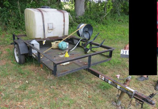 utility trailer with pressure washer tank and hose reel 4x8 bed.  Note we have no previous registrat