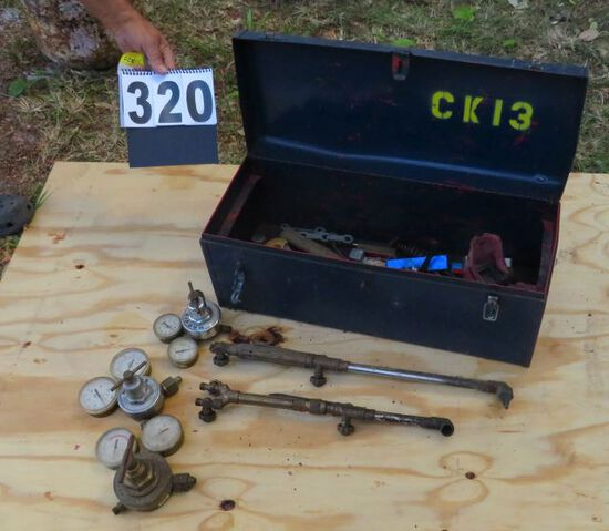 Tool box with torch heads and gauges (mostly Victor)
