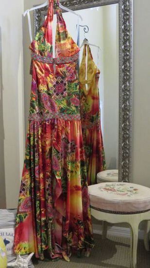 Party Time, size 8, multi color hand-beaded dress, halter style.  Perfect for cruise or party.  Dres