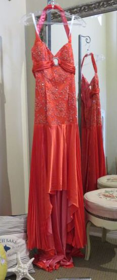 Party Time, size 8,  hand-beaded dress, halter style, coral color.  Perfect for cruise or prom.  Dre