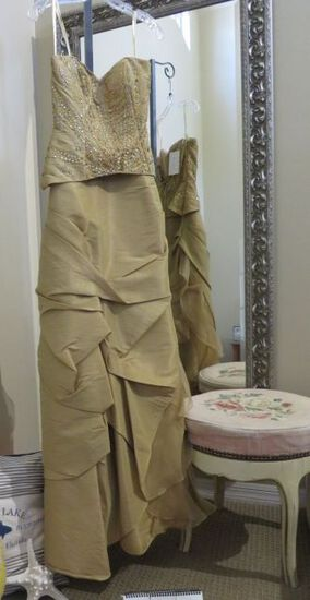Party Time, size 2,  hand-beaded dress, strapless, mocha color.  Formal for  prom.  Dress fits bust