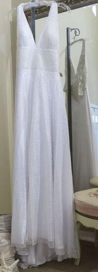 White sequined prom dress, size 8, by Party Time Lisa Kane. Beautiful halter style, sparkle galore.