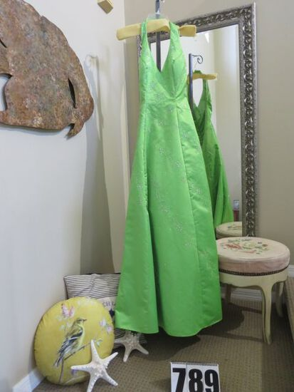 Lime green, size 2,  Panoply halter-stlye sequined dress, missing a few sequins...  absolutely stunn