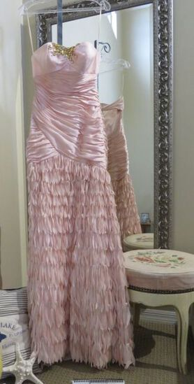 Clarisse, size 4,  Trumpet style dress with unique feathery skirt.  Head-turning prom or party dress