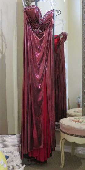 Party Time, size 8,  hand-beaded, strapless burgundy dress.  Perfect for cruise or prom.  Dress fits
